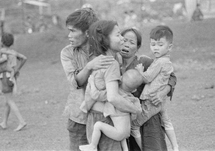 A family in peril in Vietnam, as seen in The Vietnam War on SBS TV.