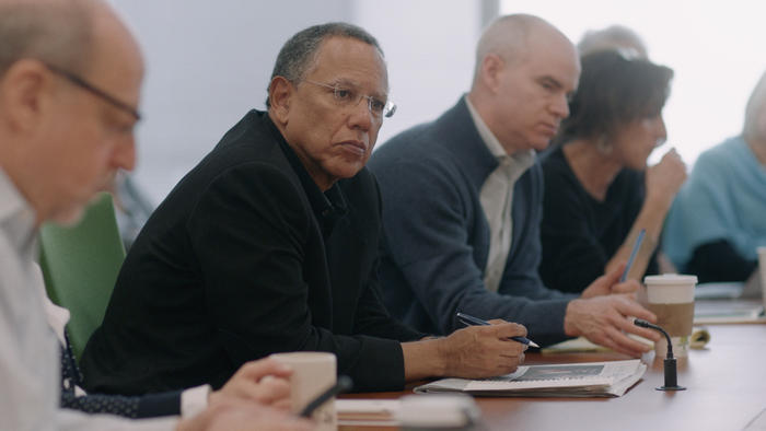 Dean Baquet, Executive Editor oversees the morning meeting at the New York Times.