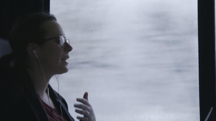 White House Correspondent Maggie Haberman working from an Amtrak train.