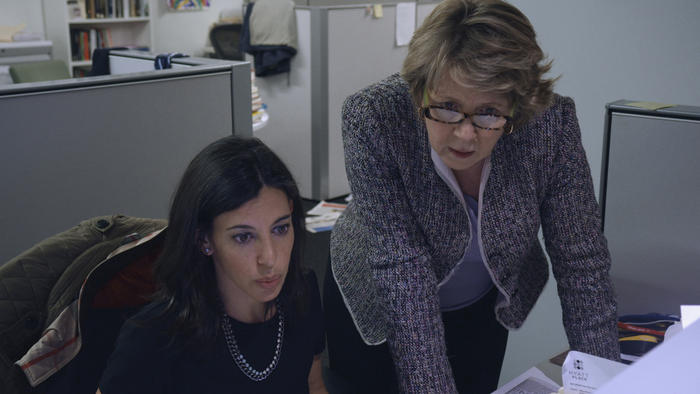 (Right) Elisabeth Bumiller, Washington Bureau Chief, discovers the New York Times has been kept out of a White House press briefing.
