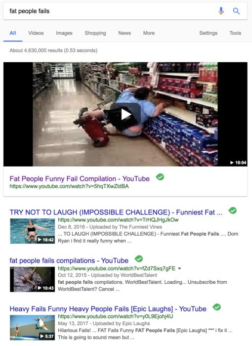 fat people fails google