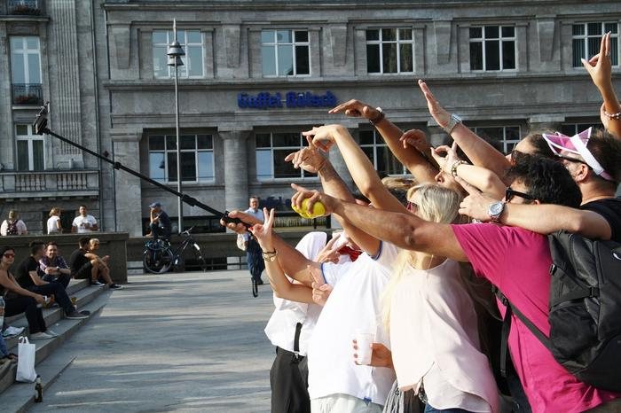 Selfie stick tourists