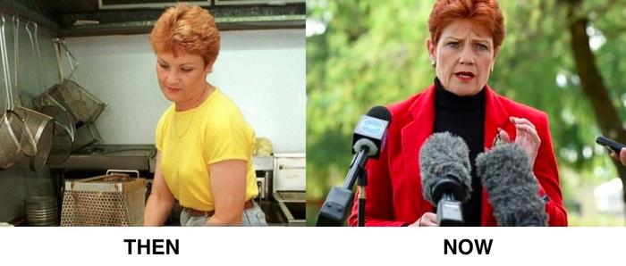 Pauline Hanson then and now