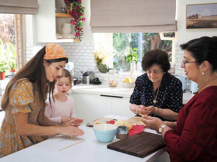 Silvia Colloca with daughter Luna and friends Enna and Alfia