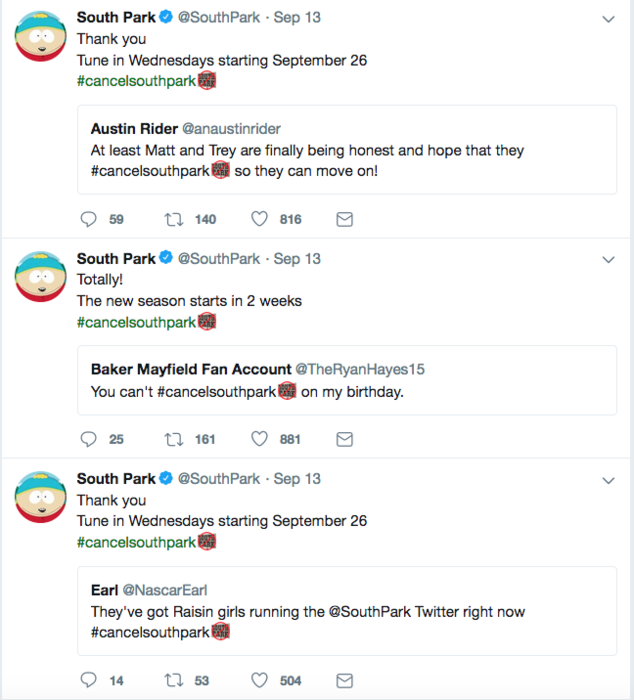 south park tweets response to cancellation