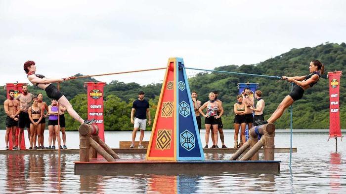 Contestants take on a challenge in 'Australian Survivor'