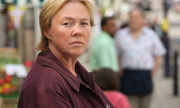[Caption: Suspect. Pauline Quirke stars in Broadchurch. Credit: ITV]
