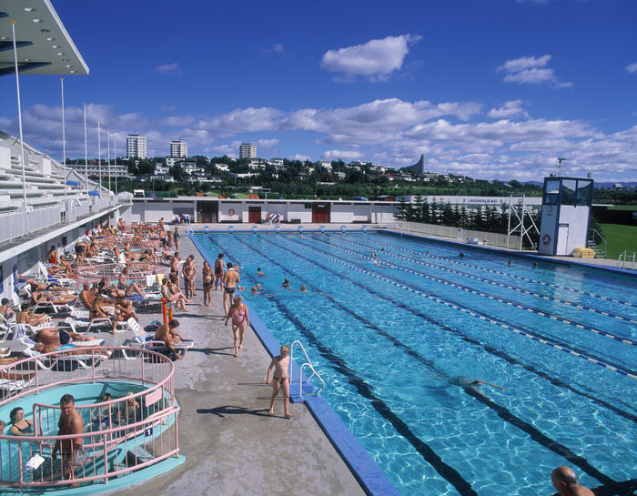 High angle view of a group of people at a swimming pool, Laugardalslaug, Reykjavik, Iceland
