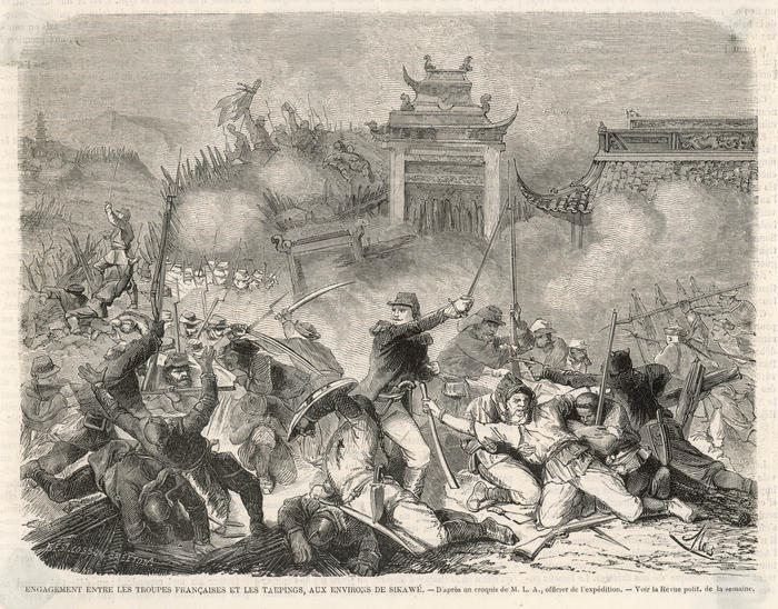Taiping Rebellion  - the French in action near  Sikawe        Date: 1862