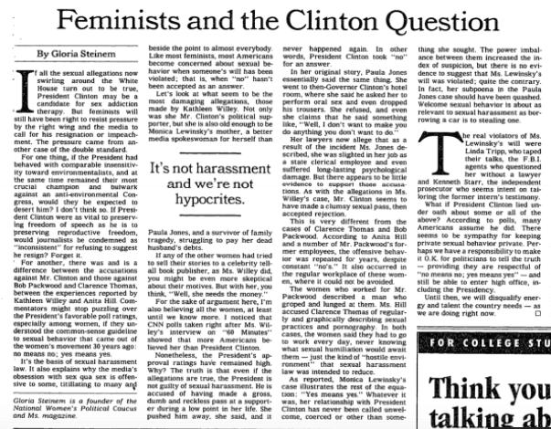 Gloria Steinem Clinton New York Times
