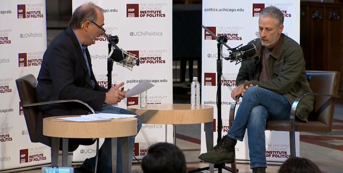 David Axelrod interviews Jon Stewart at the University of Chicago.
