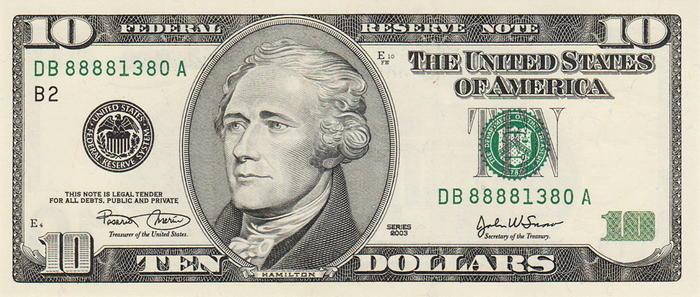 US $10 bill