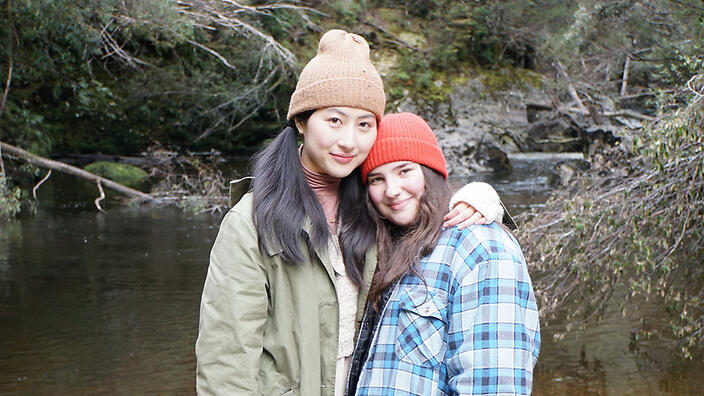 Mabel LI and Tegan Stimson during filming for The Tailings