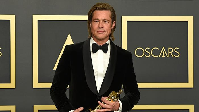 "Brad Pitt, winner of the award for best performance by an actor in a supporting role for ""Once Upon a Time in Hollywood"""
