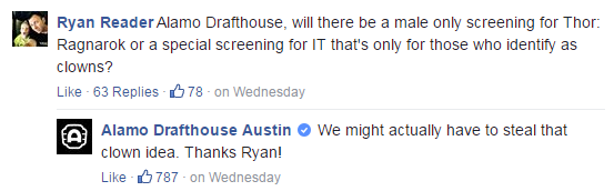 The Alamo Drafthouse's cool and calm responses received praise from supporters.