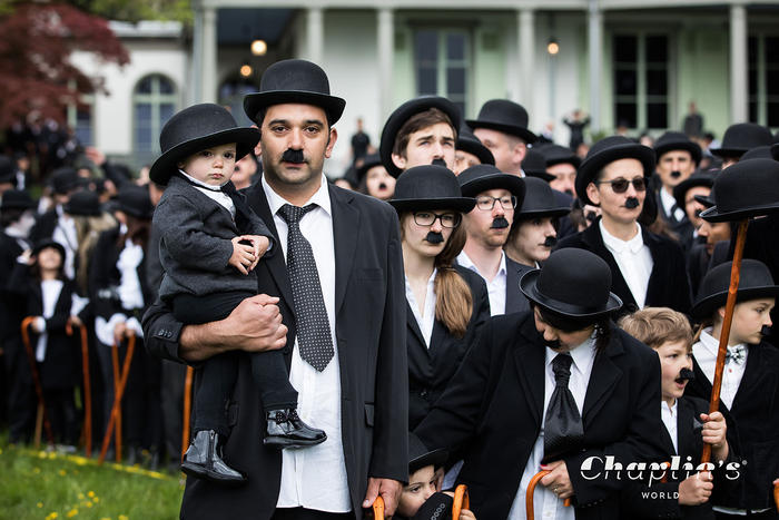People dressed as Charlie Chaplin gather in Switzerland