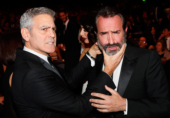 C sars 2017 clooney stirs up the ceremony and huppert for Jean dujardin 2017