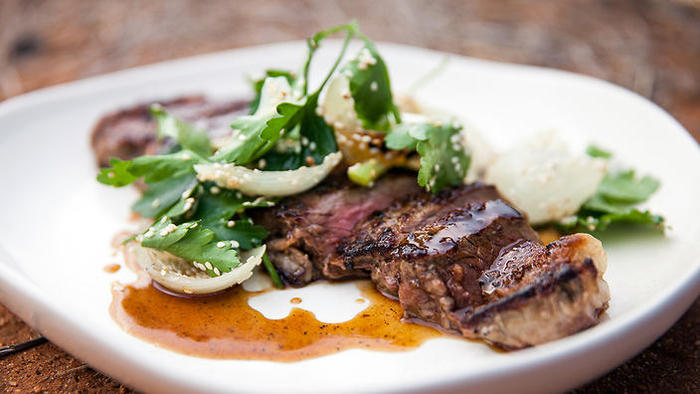 Justine Schofield, steak with pepperberry, honey and soy