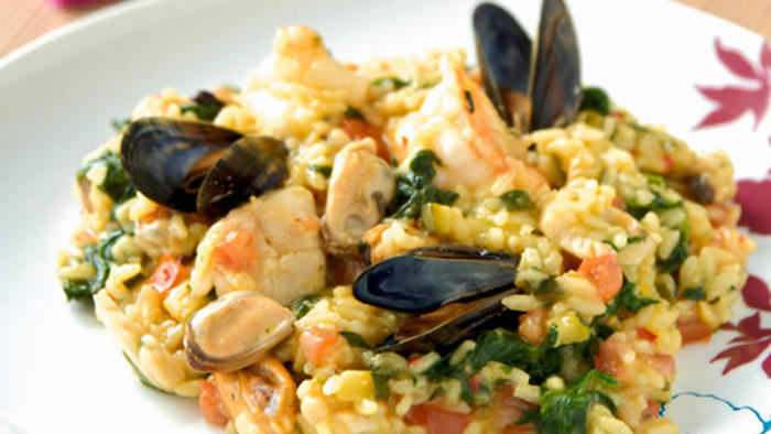 Risotto with seafood and herbs