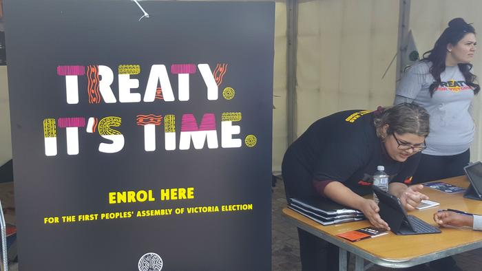Raising awareness about Treaty Process at Federation Square Melbourne