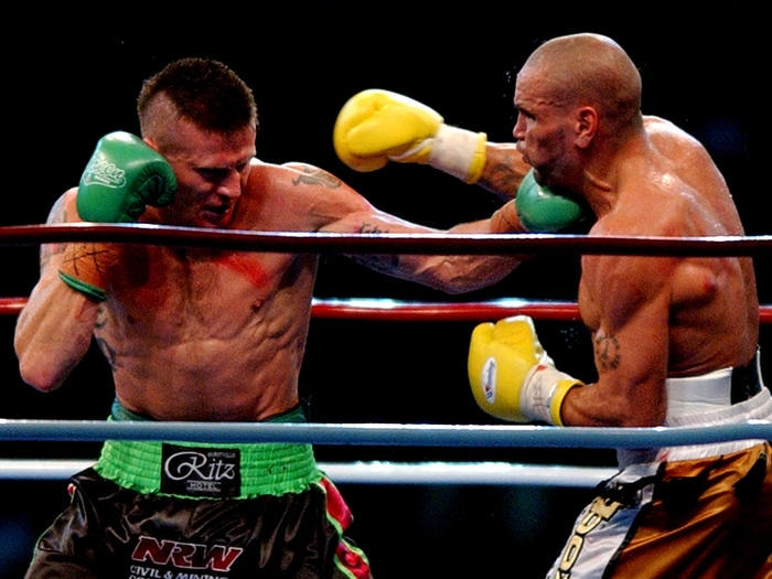 Danny Green and Anthony Mundine during their fight in 2006