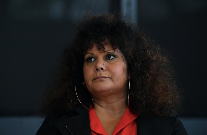 Labor Senator Malarndirri McCarthy waits for a press conference for the start of NAIDOC week in Canberra, Monday November 9, 2020