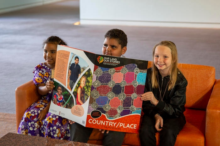 Jayde, Josie, Orlando and Shae at the Our Land, Our Stories launch at Parliament House.