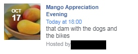 A mango-related Facebook event was created earlier today.