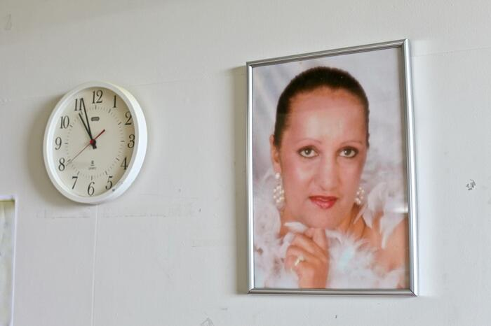 A photo on the wall of Mary-Ellen Passmore's hospital room.