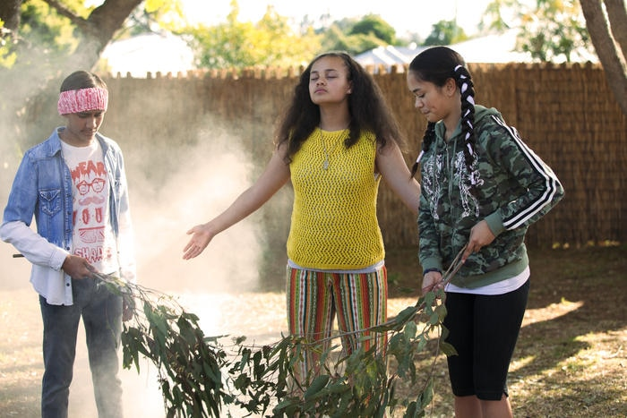 Kyliric with cast mates, Tjiirdm McGuire and Mairehau Grace