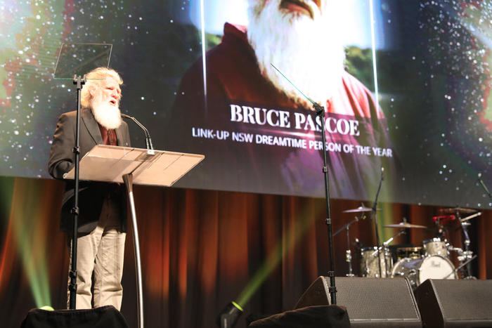 Uncle Bruce Pascoe accepts his award for Dreamtime Person of the Year