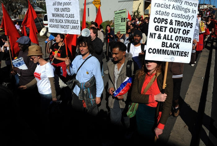 Protesters in Redfern call on the Rudd Government to scrap the Northern Territory Intervention, 2008