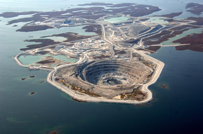 A handout aerial view made available by Rio Tinto, dated 22 August 2008, of the Diavik diamond mine of global mining giant Rio Tinto in Canada.