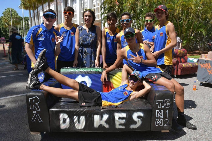 Northern Territory kids participate in Darwins annual couch surfing competition at Parliament House in Darwin.