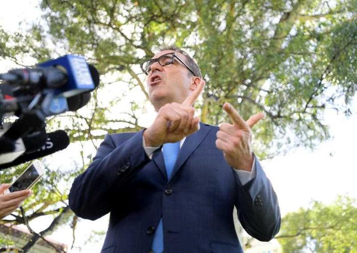 South Australian Liberal leader Steven Marshall addresses the media during a press conference in Adelaide