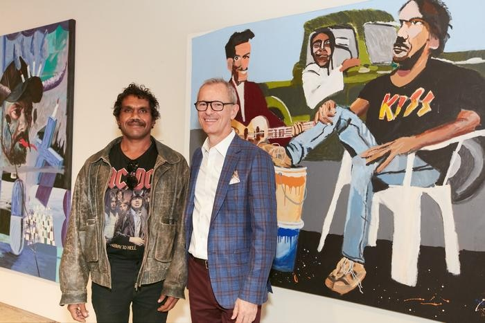 Highly commended Archibald finalist Vincent Namatjira and Art Gallery of NSW director Michael Brand © the artist. Photo: AGNSW
