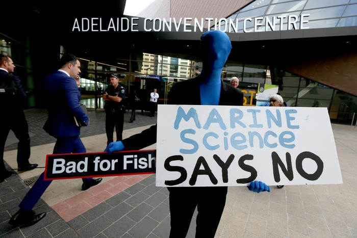 Community groups protest at Australian Petroleum Production & Exploration Association conference to say no to oil exploration in Great Australian Bight in  Adelaide, Tuesday, May 15, 2018