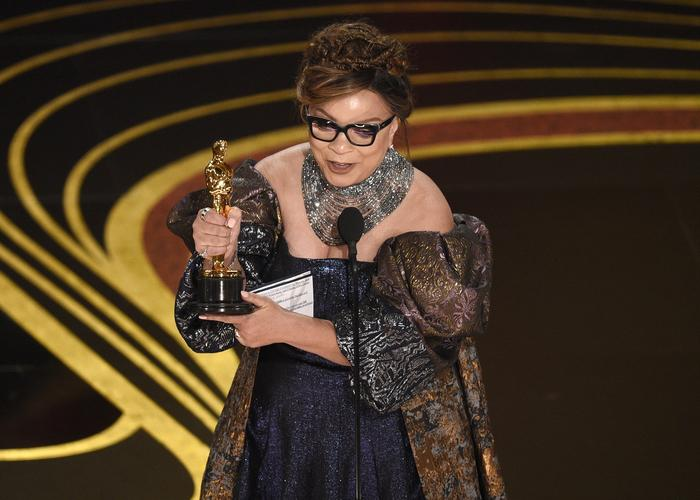 Ruth Carter accepts the award for best costume design for 'Black Panther' at the Oscars
