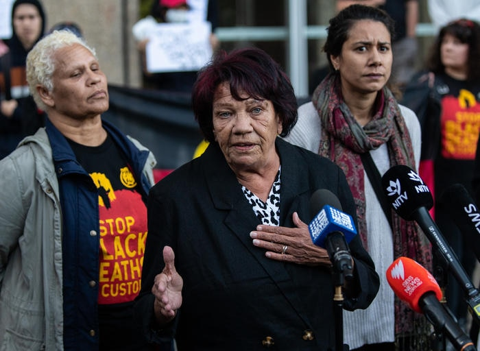 Leetona Dungay speaking to media outside the Supreme Court in Sydney. | AAP Image/James Gourley