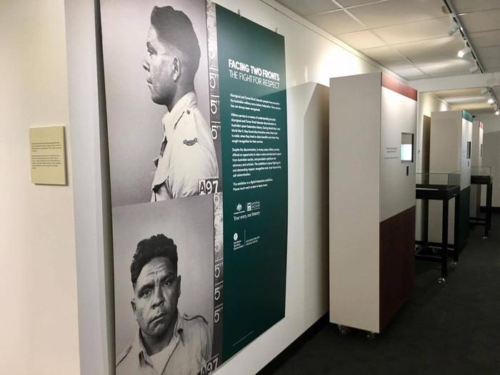 Indigenous war exhibition Facing Two Fronts at the National Archives of Australia in Darwin. Joe McGinness served in the Second World War.