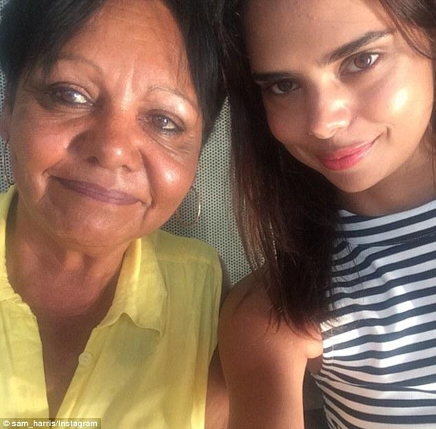 Samantha Harris with her mother.