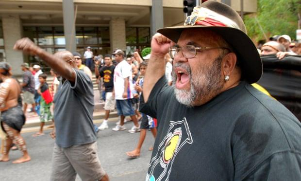 Indigenous leader Sam Watson marches in a death in custody protest he organised in Brisbane, 20 December 2006.