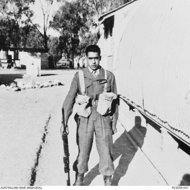 Mr Harry Brandy at 18 years old pictured in uniform with a weapon (1965) Credit: Australian War Memorial