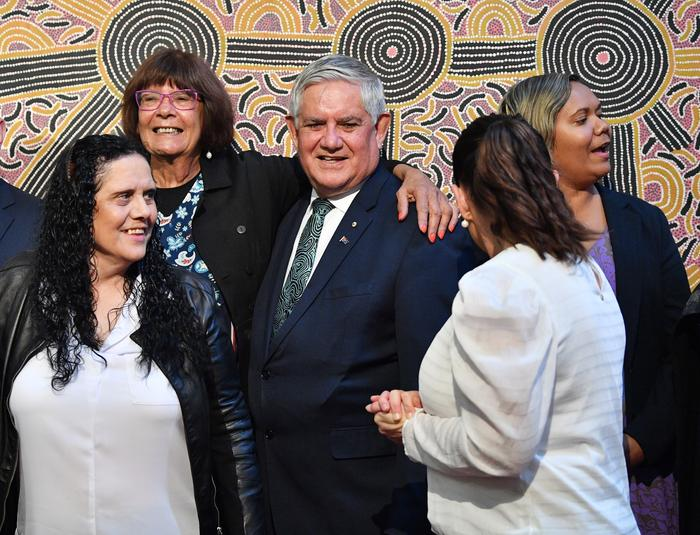 Pat Turner CEO of Naccho and Minister for Indigenous Australians Ken Wyatt during the Joint Council on Closing the Gap meeting in Adelaide earlier this year.