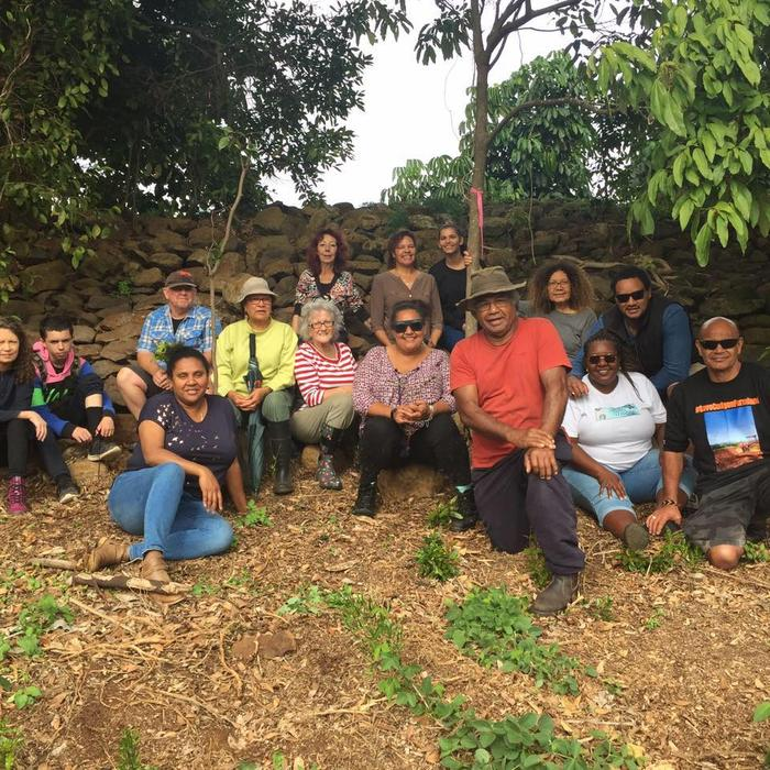 Local South Sea Islander community members in front of one of the dry-stone walls marked for possible demolition as part of plan