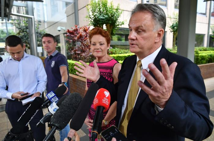 One Nation party leader Pauline Hanson (left) and One Nation candidate and state leader for NSW Mark Latham speak to the media in Sydney.