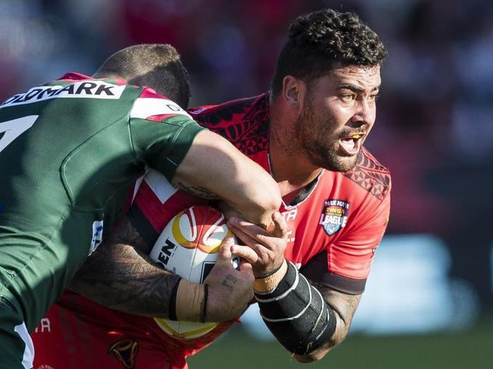 File image of Andrew Fifita of Tonga in action against Lebanon.