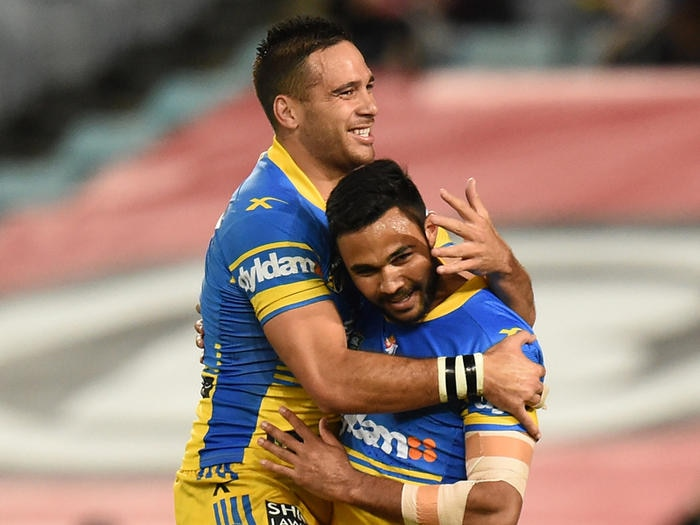 Bevan French of the Eels celebrates