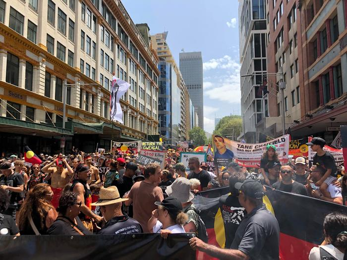 A minute of silce was held at the Invasion Day Rally in Sydney