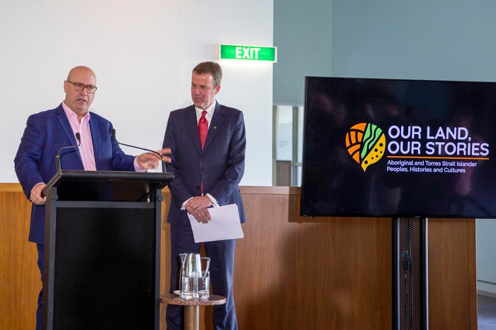 1.AIATSIS CEO Craig Ritchie with the Hon Dan Tehan MP, Minister for Education at the Our Land, Our Stories launch at Parliament House.